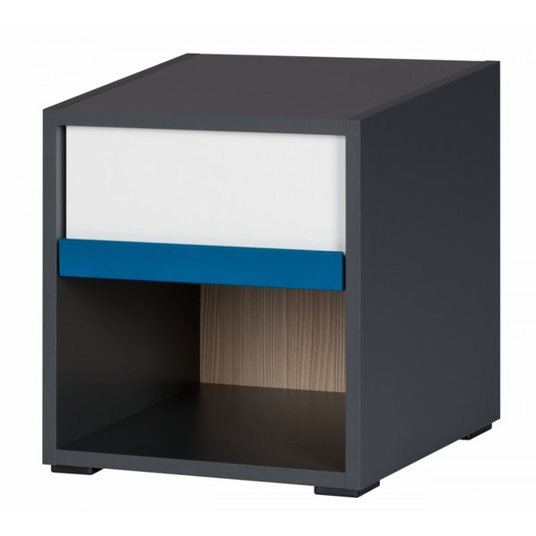 Нощно шкафче Алекс - графит/дъб сонома/бял